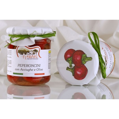 HOT CHILI PEPPERS with Anchovy and Taggiasca Olives 280g